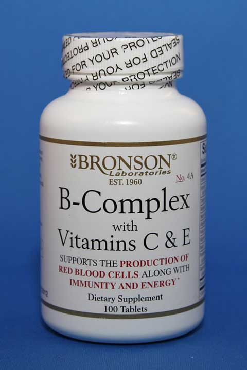B-Complex with Vitamins C & E 100 Tablets - Bronson